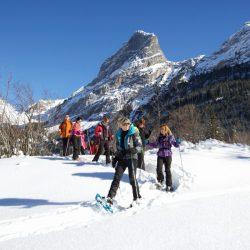 raquettes en groupe en hiver à la montagne
